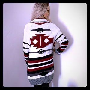 Aztec design knit sweater